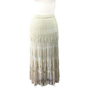 Very Vera Crochet Lace Cream Boho Skirt, Medium